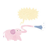 Cartoon elephant squirting water with speech bubble Royalty Free Stock Images