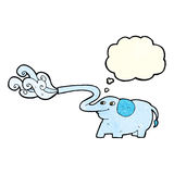 Cartoon elephant squirting water with thought bubble Stock Photo