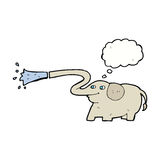 Cartoon elephant squirting water with thought bubble Stock Photography