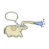Cartoon elephant squirting water with thought bubble Royalty Free Stock Images