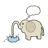 Cartoon elephant squirting water with thought bubble Royalty Free Stock Photo