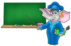 Cartoon elephant teacher 2 Royalty Free Stock Photography