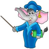Cartoon elephant teacher Stock Image