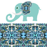 Cartoon elephant with tribal ethnic ornament. Geometric seamless pattern Stock Photo