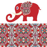 Cartoon elephant with tribal ethnic ornament. Geometric seamless pattern Royalty Free Stock Photos