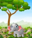 Cartoon elephant walking in the jungle. Illustration of Cartoon elephant walking in the jungle Stock Photos