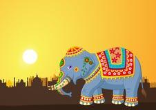 Cartoon elephant wearing traditional costume on the sunset background Stock Photo