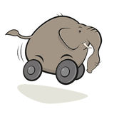 Cartoon elephant on wheels Royalty Free Stock Image