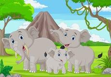 Free Cartoon Elephants Family In The Jungle Stock Photography - 183240342
