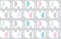 Elephants with patterned ears and repeat pattern. Cartoon elephants with patterned ears repeat pattern Royalty Free Stock Photo