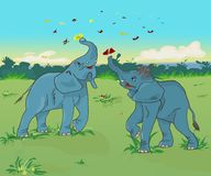 Cartoon elephants playing with butterflies outline stock images