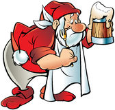 Cartoon elf with beer Stock Images