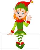 Cartoon elf girl sitting on blank sign Royalty Free Stock Photo