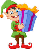 Cartoon elf holding gift box Stock Photo