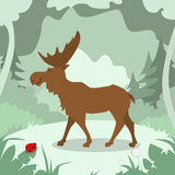 Cartoon Elk Green Forest Colorful Flat Retro Stock Photos