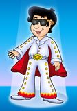 Cartoon Elvis impersonator on stage Stock Photography