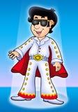 Cartoon Elvis impersonator on stage Stock Photography