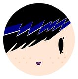 Cartoon emo girl. Punk, rock, cool and cute Stock Photos