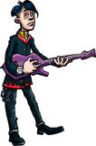 Cartoon emo rocksinger with guitar Royalty Free Stock Image