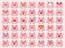 Free Cartoon Emoji Pigs Set Icons Stickers Emoticons. Cartoon Animal Characters Different Emotions. Symbols Digital Chat Objects. Stock Image - 189605881