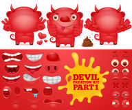 Cartoon emoticon red devil character creation kit Royalty Free Stock Photos
