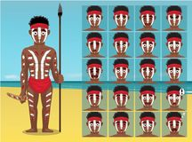 Aboriginal Young Man Beach Cartoon Emotion faces Vector Illustration stock illustration