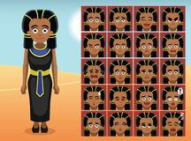 Egypt Black Dress Cartoon Emotion faces Vector Illustration Stock Photo