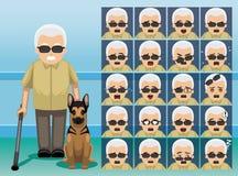 Hospital Blind Oldman Cartoon Character Emotion faces Royalty Free Stock Photography
