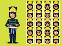 Marching Band Drummer Girl Cartoon Character Emotion faces. Cartoon Emoticons EPS10 File Format Stock Photography