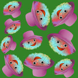 Cartoon emoticons with smile in the hat seamless pattern Royalty Free Stock Photo