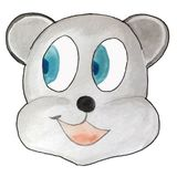 Cartoon emotion, gray bear, looking to the side. vector illustration