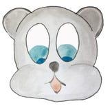 Cartoon emotion, gray teddy bear looking down. vector illustration