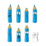 Cartoon emotional blue pencils set color 16. Vector. Cartoon emotional blue pencils set color 16 Vector Illustration
