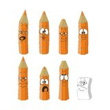 Cartoon emotional orange pencils set 14 Stock Photography