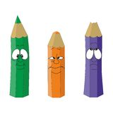 Cartoon emotional pencil set color 11 Royalty Free Stock Images