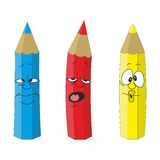 Cartoon emotional pencil set color 09 Stock Image