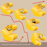 Cartoon emotions euro icon set Royalty Free Stock Image