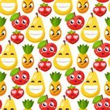 Cartoon emotions fruit characters natural food vector smile nature happy expression seamless pattern background Stock Photo