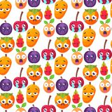 Cartoon emotions fruit characters natural food vector smile nature happy expression seamless pattern background. Cartoon emotions fruit characters natural food Royalty Free Stock Photos