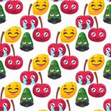 Cartoon emotions fruit characters natural food vector smile nature happy expression seamless pattern background. Cartoon emotions fruit characters natural food Stock Photography