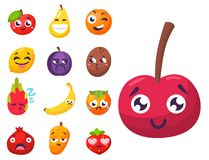 Cartoon emotions fruit characters natural food vector smile nature happy expression juicy mascot tasty design. Royalty Free Stock Photo