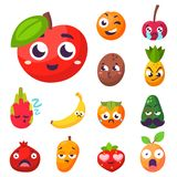 Cartoon emotions fruit characters natural food vector smile nature happy expression juicy mascot tasty design. Stock Photography