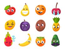 Cartoon emotions fruit characters natural food vector smile nature happy expression juicy mascot tasty design. Royalty Free Stock Image
