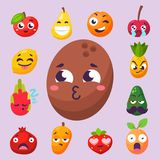 Cartoon emotions fruit characters natural food vector smile nature happy expression juicy mascot tasty design. Royalty Free Stock Images