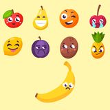 Cartoon emotions fruit characters natural food vector smile nature happy expression juicy mascot tasty design. Stock Photos