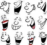 Cartoon emotions illustration. Cartoon faces and emotions for humor or comics design Stock Images