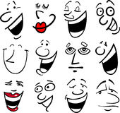 Cartoon emotions illustration. Cartoon faces and emotions for humor or comics design Stock Photos