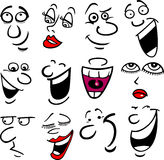 Cartoon emotions illustration. Cartoon faces and emotions for humor or comics design Royalty Free Stock Image