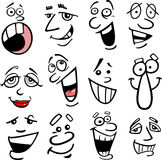 Cartoon emotions illustration. Cartoon faces and emotions for humor or comics design Stock Image