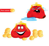 Cartoon emotions set - funny red purses Royalty Free Stock Photo